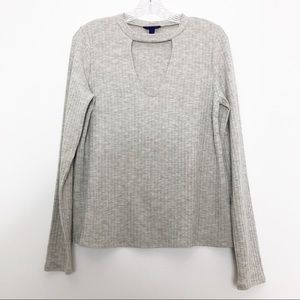 Aeropostale Cut Out Ribbed Sweater Grey Medium